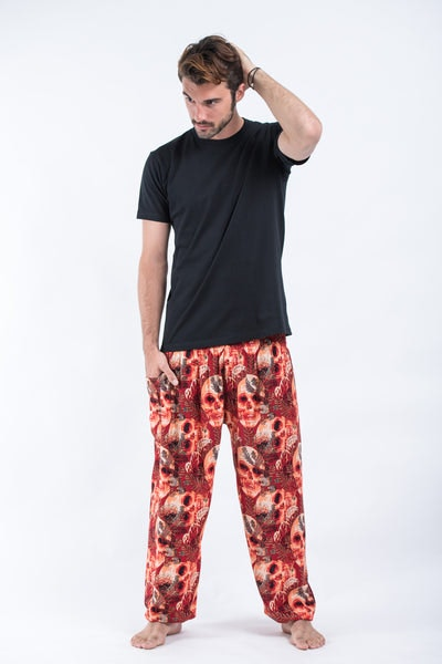 Skulls Men's Harem Pants in Red