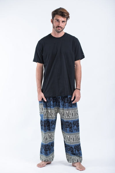 Safari Elephants Men's Harem Pants in Blue