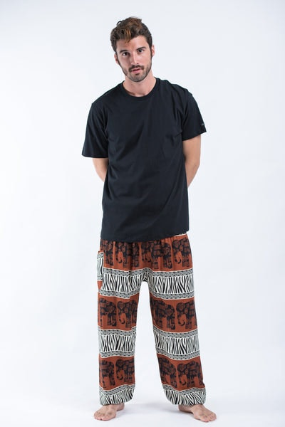 Safari Elephants Men's Harem Pants in Brown