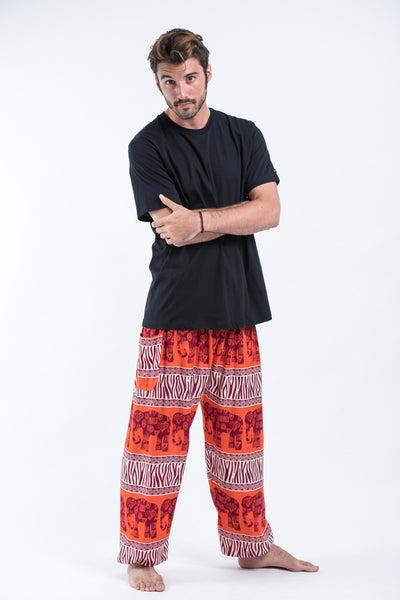 Safari Elephants Men's Harem Pants in Orange
