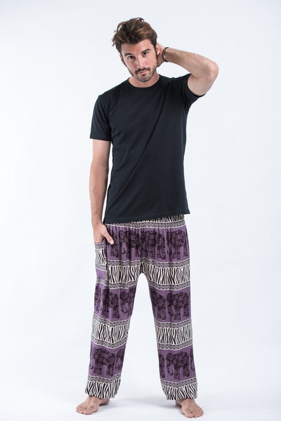 Safari Elephants Men's Harem Pants in Violet