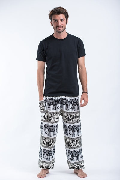 Safari Elephants Men's Harem Pants in White