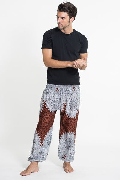 Marble Mandalas Men's Harem Pants in Brown