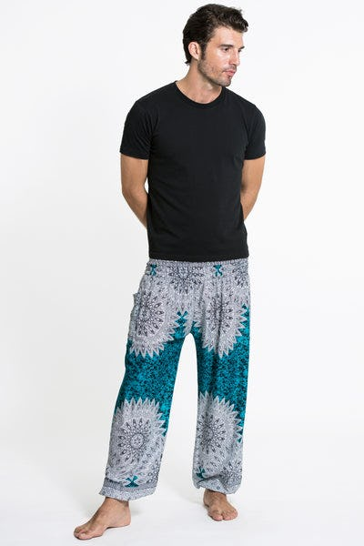 Marble Mandalas Men's Harem Pants in Turquoise