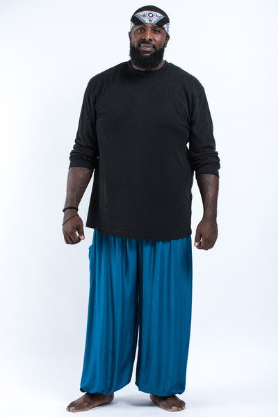 Plus Size Solid Color Men's Harem Pants in Aqua Blue