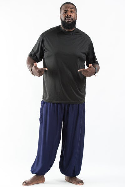 Plus Size Solid Color Men's Harem Pants in Blue