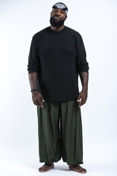 Plus Size Solid Color Men's Harem Pants in Dark Green