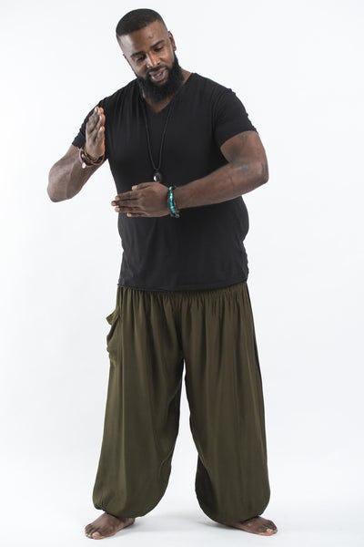 Plus Size Solid Color Men's Harem Pants in Green