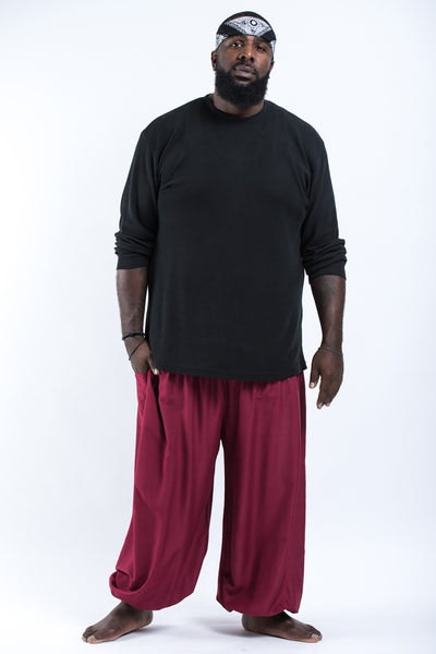 Plus Size Solid Color Men's Harem Pants in Red