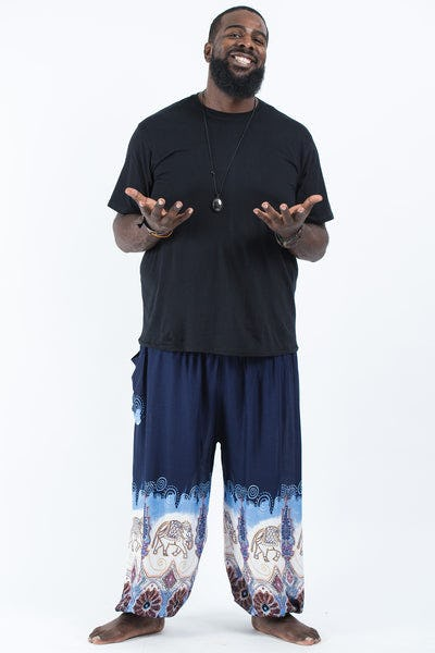 Plus Size Solid Top Elephants Men's Harem Pants in Blue