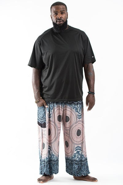 Plus Size Geometric Mandalas Men's Harem Pants in Silver Gray
