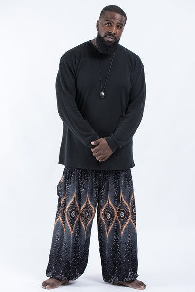 Plus Size Diamond Peacock Men's Harem Pants in Black