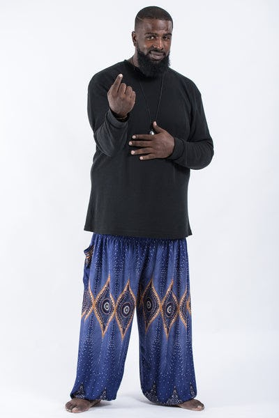 Plus Size Diamond Peacock Men's Harem Pants in Blue