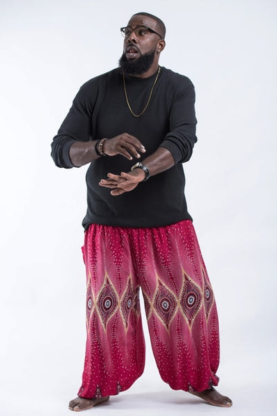 Plus Size Diamond Peacock Men's Harem Pants in Red