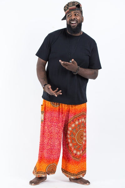 Plus Size Tribal Chakras Men's Harem Pants in Orange