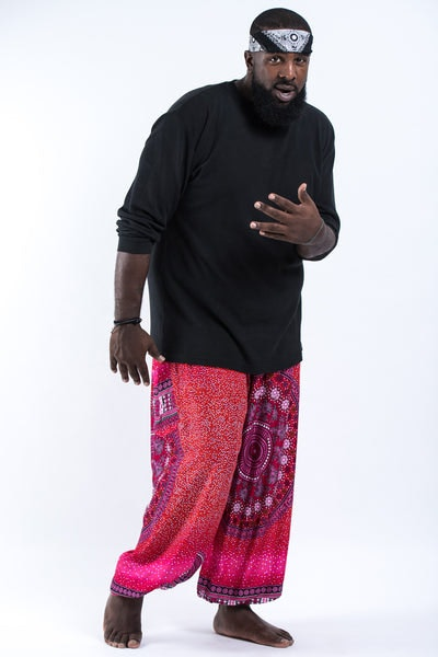 Plus Size Tribal Chakras Men's Harem Pants in Pink