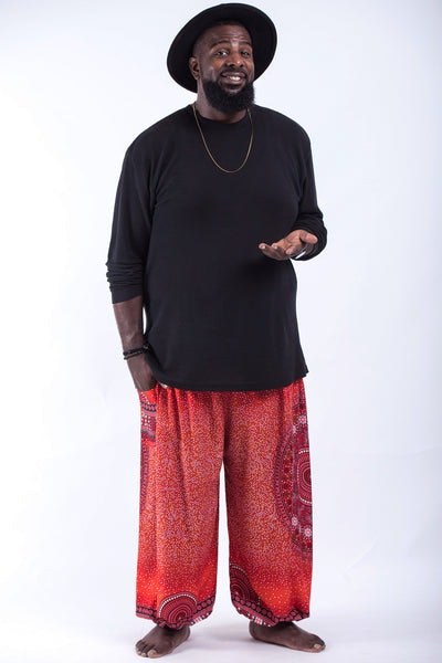 Plus Size Tribal Chakras Men's Harem Pants in Red