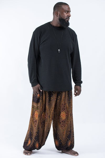 Plus Size Peacock Eye Men's Harem Pants in Brown