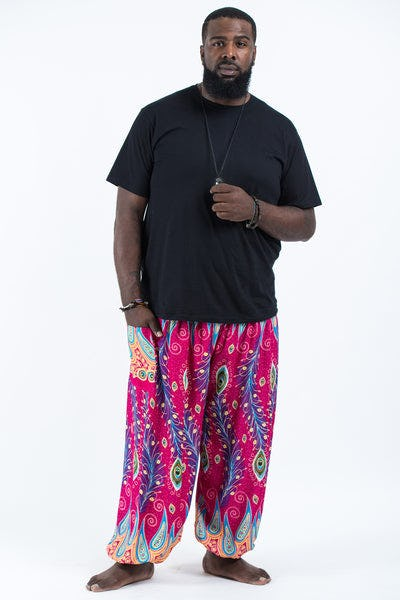 Plus Size Peacock Paisley Men's Harem Pants in Pink