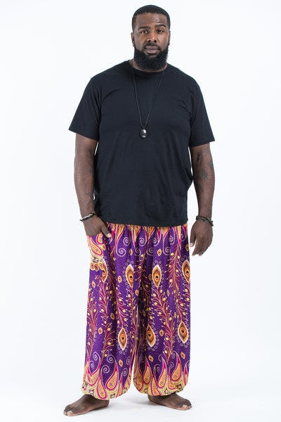 Plus Size Peacock Paisley Men's Harem Pants in Purple