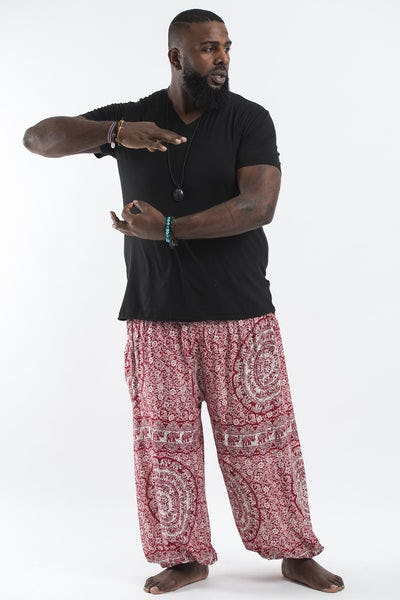 Plus Size Paisley Elephants Men's Harem Pants in Red