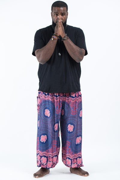 Plus Size Mandala Elephant Men's Elephant Pants in Blue