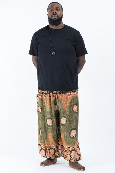 Plus Size Mandala Elephant Men's Elephant Pants in Olive