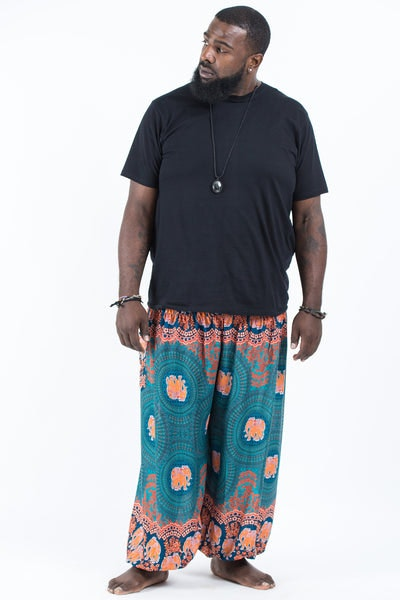 Plus Size Mandala Elephants Men's Harem Pants in Turquoise