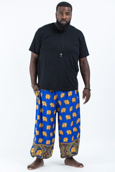 Plus Size Golden Elephants Men's Harem Pants in Blue