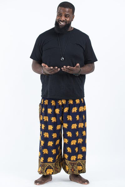 Plus Size Golden Elephant Men's Elephant Pants in Navy