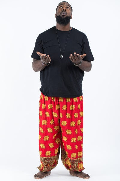 Plus Size Golden Elephant Men's Elephant Pants in Red