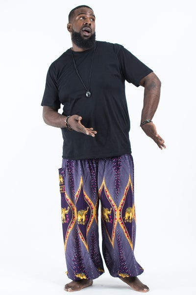 Plus Size Peacock Elephants Men's Harem Pants in Purple