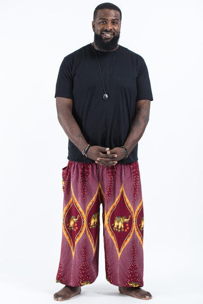 Plus Size Peacock Elephants Men's Harem Pants in Red