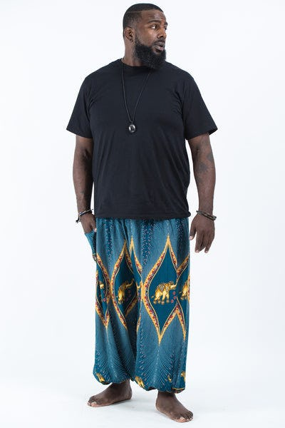 Plus Size Peacock Elephants Men's Harem Pants in Turquoise