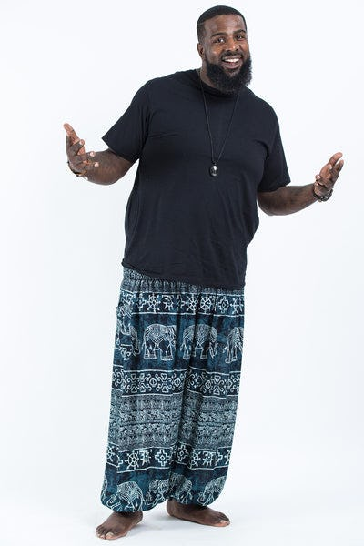 Plus Size Marble Elephants Men's Harem Pants in Black