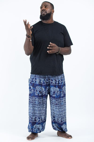 Plus Size Marble Elephants Men's Harem Pants in Blue