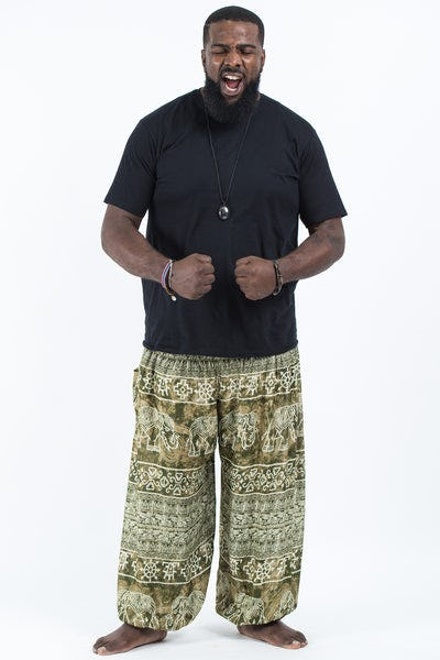 Plus Size Marble Elephants Men's Harem Pants in Olive