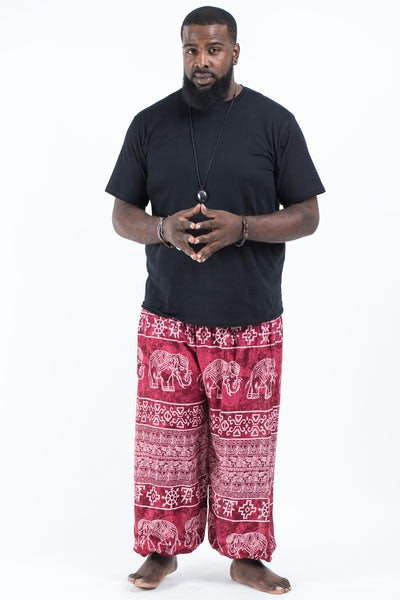 Plus Size Marble Elephants Men's Harem Pants in Red