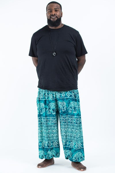 Plus Size Marble Elephants Men's Harem Pants in Turquoise