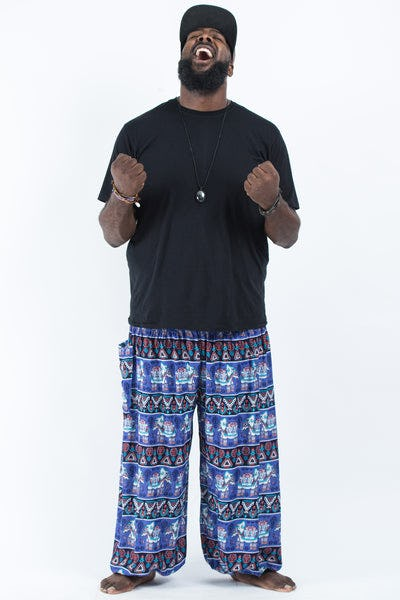 Plus Size Aztec Elephants Men's Harem Pants in Blue