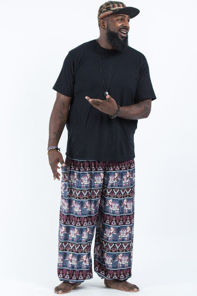 Plus Size Aztec Elephants Men's Harem Pants in Gray