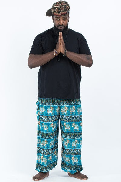 Plus Size Aztec Elephants Men's Harem Pants in Ocean Blue