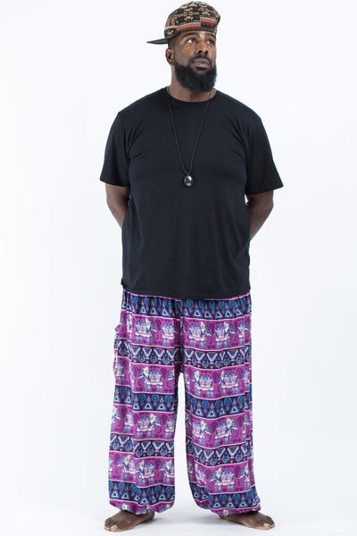 Plus Size Aztec Elephants Men's Harem Pants in Purple