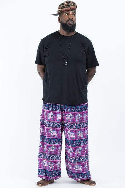 Plus Size Aztec Elephant Men's Elephant Pants in Purple