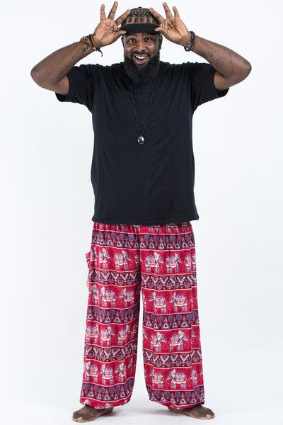 Plus Size Aztec Elephants Men's Harem Pants in Red