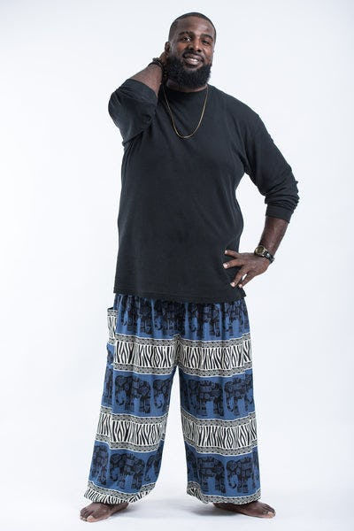 Plus Size Safari Elephants Men's Harem Pants in Blue