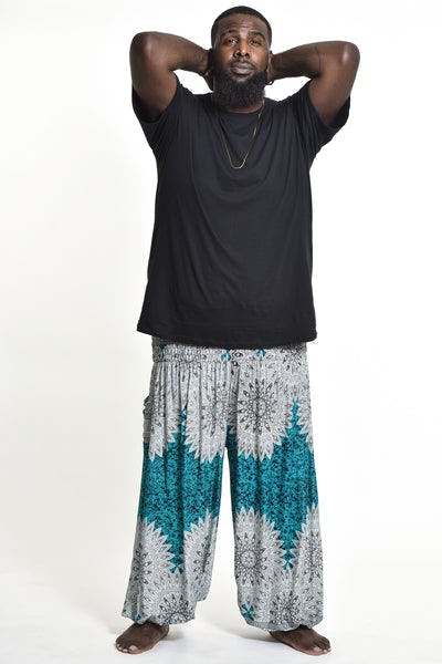 Plus Size Marble Mandalas Men's Harem Pants in Turquoise