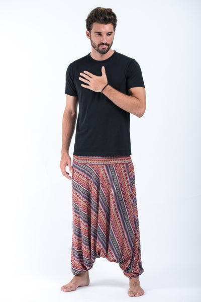 Aztec Stripes Drop Crotch Men's Harem Pants in Peach