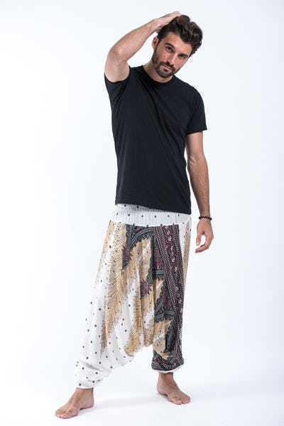 Peacock Feathers Drop Crotch Men's Harem Pants in White