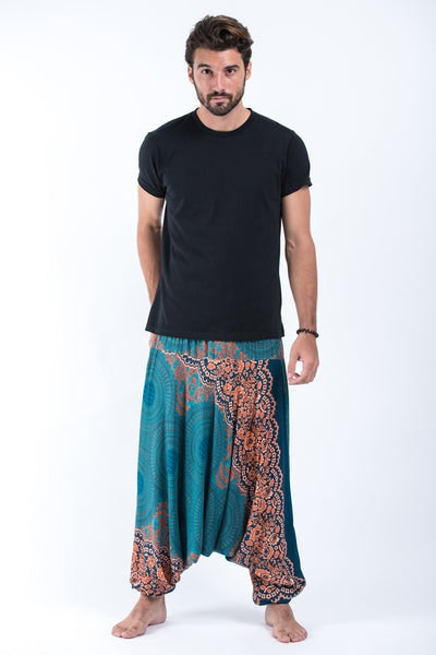 Geometric Mandalas Drop Crotch Men's Harem Pants in Turquoise